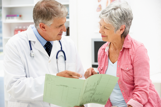doctor discussing results with female patient