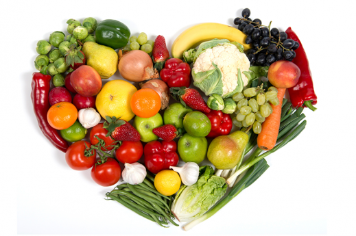 fruits veggies heart