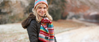 healthy woman during winter