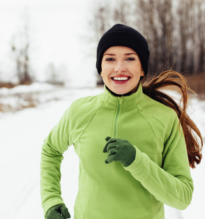 woman running cold weather