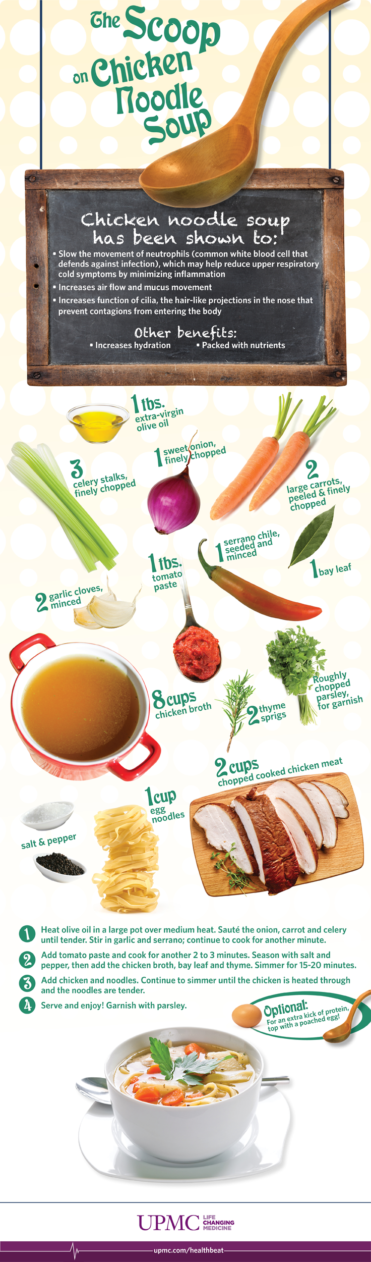 chicken health benefits Does chicken soup have healing powers started to write extensively about the benefits of chicken soup many researchers and scientists have pondered the question of whether or not chicken soup has any real health benefits to patients suffering from a cold some have.