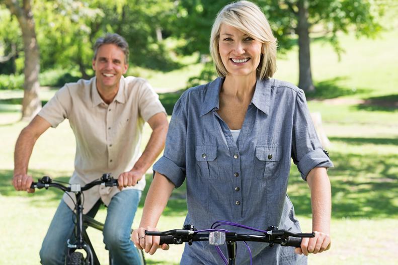 biking in park