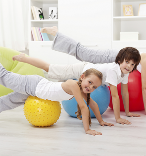 family on exercise balls