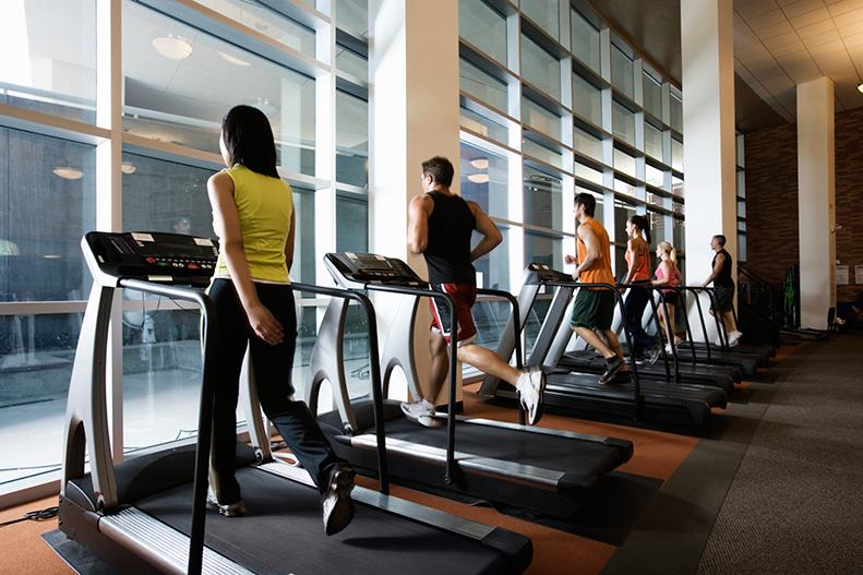 exercising on treadmill