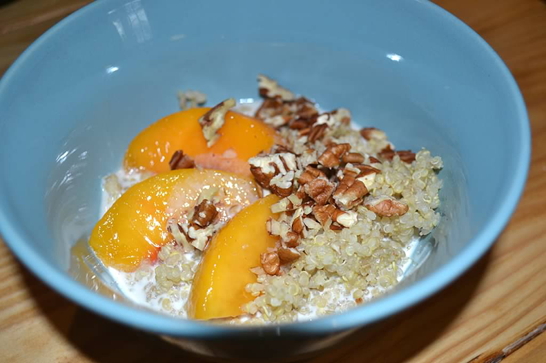 quinoa with peaches