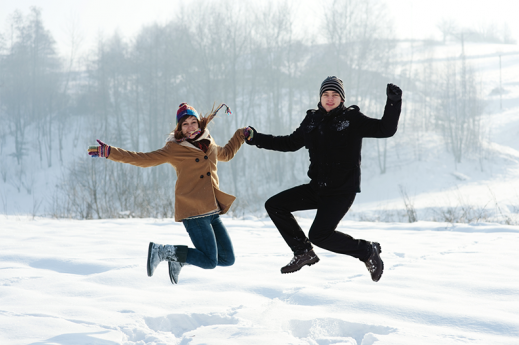 jumping in winter