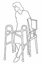 After a total hip replacement, scoot to the edge of the bed or chair before standing.