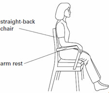 After hip replacement surgery, sit in a firm chair, higher than knee height, with arm rests.