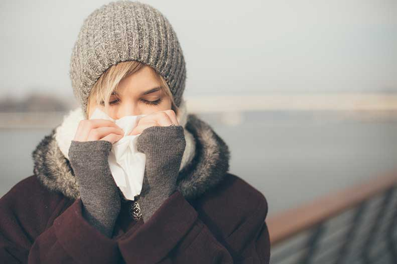 girl with a runny nose