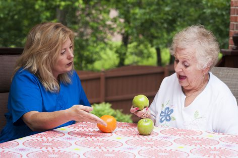 Speech therapist instructs female stroke patient to match fruit during a home health therapy session outdoors that is targeting visual comprehension in aphasia rehabilitation