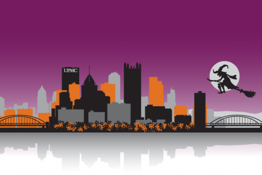 halloween graphic of pittsburgh skyline with UPMC building