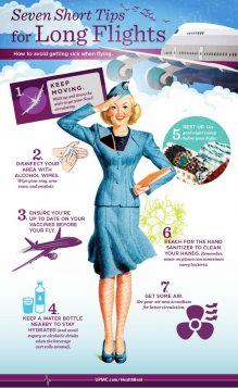 Find ways to keep yourself healthy on long flights